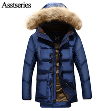 2017 New Winter Keep Warm Coat Casual Men Duck Down Jacket Men's Brand White Duck Down Fur Collar Hooded Long Parka 179wy(China)