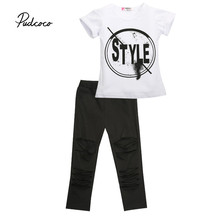 Pudcoco Kid Summer Baby Girls Fashion Outfits Clothes STYLE Letter Tops T-shirt Solid Pants Leggings Children 2PCS Set 5-6Y