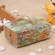 50pcs Novelty World Map Gift Box for Christmas Decorations Kraft Paper Candy Boxes for Guests Wedding Favors Gift Packaging Bag(China)