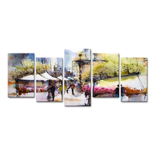 HDARTISAN 5 Pieces Canvas Art Wall Pictures For Living Room Cityscape Painting Watercolor The Market Home Decor Framed Painting