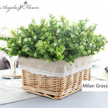 7 branch/bouquet silk fake Green plant fake milan artificial grass with leaf Setting wall decoration flower accessories