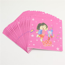 20 pcs/lot cartoon dora the explorer them party paper napkin for kids happy birthday party home decoration supplies favor towel