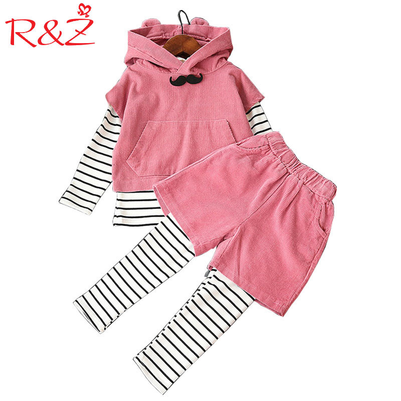 R&amp;Z Girls Clothing Sets 2017 Autumn Sleeveless Hooded Jacket+Striped Long Sleeve Blouse+Shorts+Leggings 4Pcs Kids Clothes Suits<br>