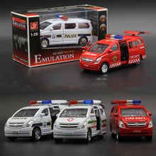 2017 Toy Ambulance Alloy Van Ambulance Fire Truck Alloy Car Model Sound And Light Model Toys(China)