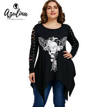 AZULINA Plus Size T Shirt Women Skull Shredding Long T-Shirt Casual New Fashions Women Tops 2018 Spring T-Shirts Woman Clothes(China)
