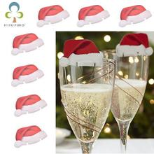 10pcs / lot Glasses Christmas Hat Decorative Family Party Dining Table Decorative Glassware Ornaments LYQ(China)