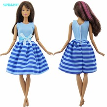 Modern Blue Dress Handmade Wedding Party Dating Dinner Dress Up Stripes Pattern Bowknot Clothes For Barbie Doll Accessories