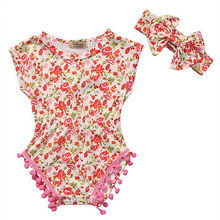 2PCS summer hot fashion bulk pullover o-neck Baby Girls Floral Bodysuit Romper Summer + Headband Sunsuit Outfit Set 0-18M