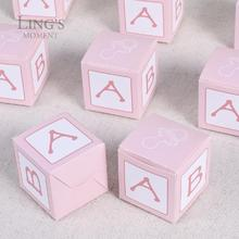 Pack of 50 pcs Square Card Candy Box Baby Anniversary Creative Cake Boxes Folding 5 x 5 x 5CM(China)