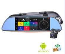 "Excellent WIFI FM DVR 7""Touch RAM 1GB ROM 16GB 2 Split View Android GPS Navigation Mirror Car DVR Dual Lens Camera Rear Parking"