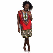 Women Summer Sleeveless Retro Pencil Dress Female Africa Vintage Patterns Short Sexy Red Dashiki(China)