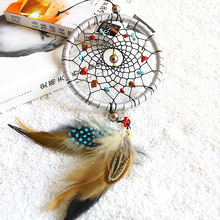 Vintage Dream Catcher Net With Feathers Decoration Ornament Diameter Enchanted Forest Dream catcher Handmade 11cm