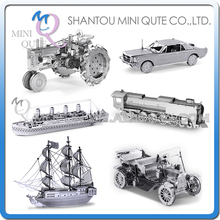 Mini Qute Piece Fun 3D vehicle Ford cars train Titanic ship Black Pearl Metal Puzzle adult assemble DIY models educational toy