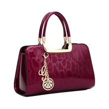 women's feminina ladies top-handle boston tote saffiano Bag handbag gold burgundy red blue stone Leopard Print PU Patent leather