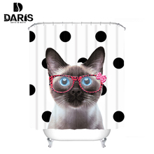 SDARISBS Creative Funny Cat Print Shower Curtain Waterproof Bathroom Shower Curtain Polyester with hook Designer