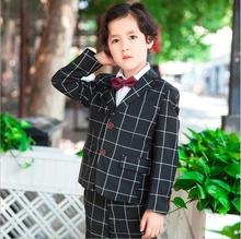 England Plaid Blue Black Boys Suits For Weddings Formal Occasion Suits Boys Blazer Jacket+Pants+Vest Three Pieces Set KS-1623