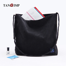 TANGIMP 2017 Solid Black Corduroy Messenger Bags Big Eco Cute Hello Sunshine Women Shoulder Tote Bags 42*40 cm bolsa compra
