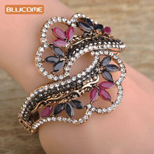 Blucome Wide Resin Flower Bangle Vintage Women Hand Accessories Turkish Style Gold-color Flower Bracelets Bangles Party Jewelry