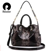 Buy REALER genuine leather totes female serpentine prints handbag boston bag large shoulder crossbody bag women messenger ladies for $50.95 in AliExpress store