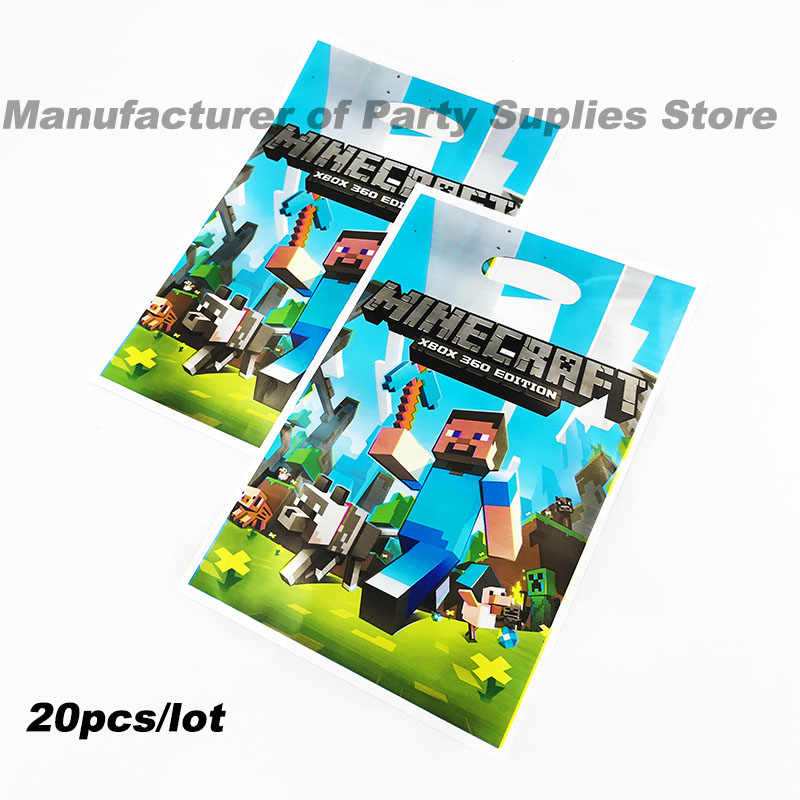 20pcs Pack Minecraft Theme Plastic Candy Bags Gift Birthday Party Decorations Loot