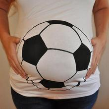 Pregnant Women Maternity Tops Round Neck Loose Football Printed T-Shirt(China)