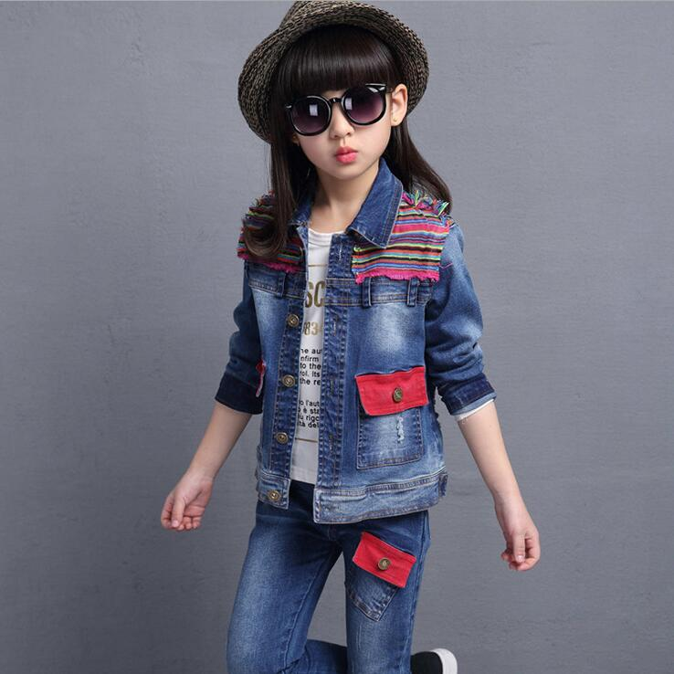 Fashion Denim Clothing Sets Turn-down Stitching Colorful Tracksuit For Girls Autumn Long Sleeve Ropa De Ninas With Pockets<br><br>Aliexpress