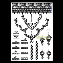 1pc New Henna Female Fake Choker Necklace Tattoo Styles BJ216 Temporary Airbrush Tattoo Paint Ink Body Art Tattoo Sticker Supply(China)