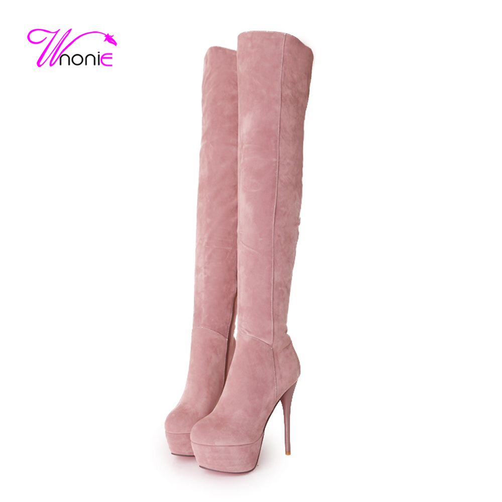 2017 Fashion Womans Boots Thin Heel Thigh High Platform Zip Suede Warm Plush Casual Party Sexy Winter Over-the-Knee Lady Shoes<br><br>Aliexpress