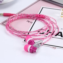 3.5mm In-Ear Stereo Earbuds Braided Rope Line Wired Earplugs Earphone Headset Mic For Cell Phone MP3 Computer