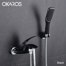 OKAROS Chrome Bathtub Shower Faucet With Head Held Shower Head Bathroom Shower System Set Single Handle Hot Cold Water Tap Mixer(China)