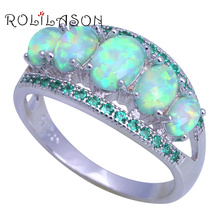 ROLILASON Anniversary gift green Fire Opal green crystal Fashion Jewelry for Women 925 Silver Rings USA Size #6#7#8#9#10 OR904