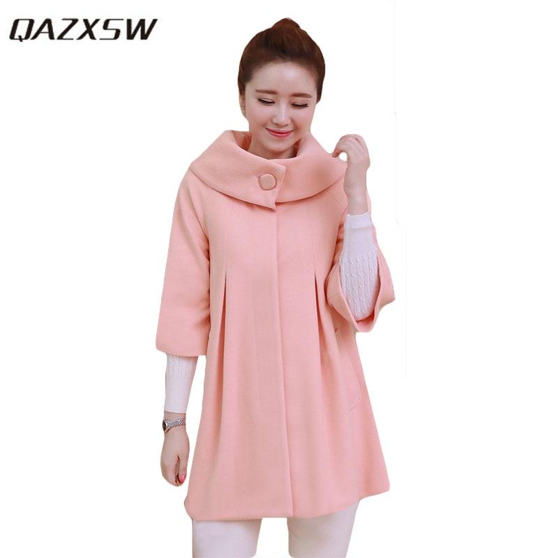 QAZXSW Woman Basic Coat Woman Winter Jacket For Women Woolen Poncho Jacket Single Button Loose Cotton Padded Abrigos Mujer HB118Îäåæäà è àêñåññóàðû<br><br>