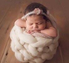 Newborn photography props basket hand crochet yarn properties of wool from the basket(China)