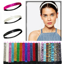 "3/4"" Glitter Headbands Elastic Stretch Sparkly Softball Headbands For Teenagers"