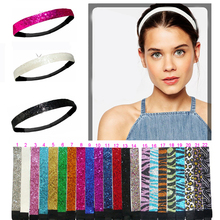 "3/4"" Glitter Headbands Elastic Stretch Sparkly Softball Headbands For Teenagers(China)"