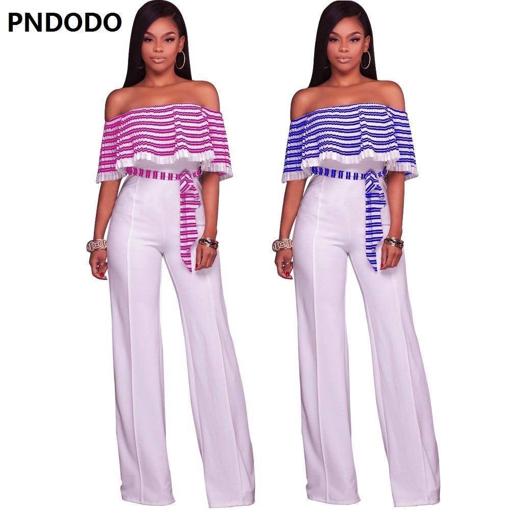 Overalls Off Shoulder Stripe Long Print Jumpsuit Shorts Ladies Sexy Soft Chiffon Shorts Summer Beach Belt Work Clothes Playsuit