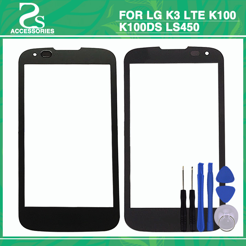 New K3 Front Touch Glass Lens LG K3 LTE K100 K100DS LS450 4.5'' Outer Screen Touch Panel Sensor Glass Lens Tools