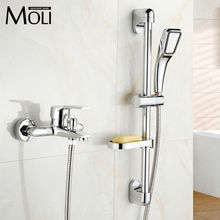 Wall Mounted Copper Chrome Bathroom Bathtub Faucet with Hand Shower Cold&hot Water Mixer Shower Faucets Tap