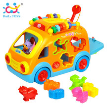 HUILE TOYS 988 Baby Toys Innovative Vehicle Happy Bus Toy with Music & Light & Blocks Kids Early Learning Educational Toy Gifts(China)