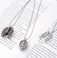 Punk Necklace Ball Chain Antique Silver Cerebrum Brain Lung Pendant Necklace Chain 70cm