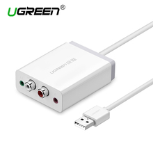 Ugreen External Sound Card USB to 3.5mm AUX Stereo Adapter 2 RCA  Interface Converter Headphone Microphone for Computer Laptop