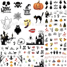 12 Sheets beauty Halloween water transfer nail art stickers decals nails decorations manicure tools pumpkin skull design 1105