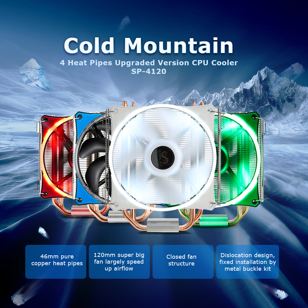 SOPLAY CPU Cooler 4 Heatpipes 4pin 12cm 4 color LED Fan PC Computer for Intel LGA 115X AMD All Series CPU Cooling Radiator Fan<br>