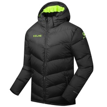 Wholesale 2016 Kelme K090S Men Medium-long Hooded Winter Keep Warm Coat Training Sport Football Down Jacket Black