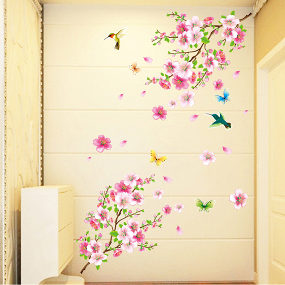 Large Cherry Blossom Flower Butterfly Tree Wall Stickers Art Decal Decor sen13
