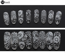 MTSSII Hot Sale 9 Sheets/Lot  Nail Art Transfer Foil Floral Serial Sexy Black Lace Pattern Nail Sticker Foil Material DIY