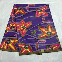 African Wax Veritable Super Quality Java Wax Print Fabric Purple Color With Leaves 100%cotton 6yrds/lot for party skirt Q11-9