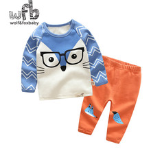 Retail 1-10 years suit long-sleeved T-shirt home service + pants cartoon printing children spring fall autumn