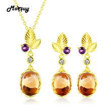 MoBuy Leaf Flower 925 Sterling Silver Jewelry Set For Women Natural Gemstone Oval Citrine Fine Jewelry Yellow Gold Plated V022EN