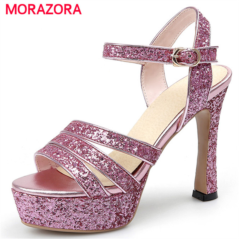 MORAZORA High heels shoes 12cm women sandals summer shoes buckle party fashion buckle solid platform shoes large size 34-43 <br>